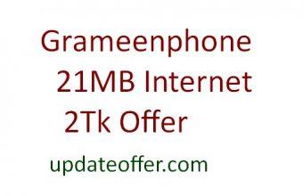 GP 21MB Internet 2Tk Offer