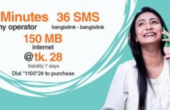 Banglalink 28Tk Bundle Offer-36Minutes, 36SMS & 150MB Internet