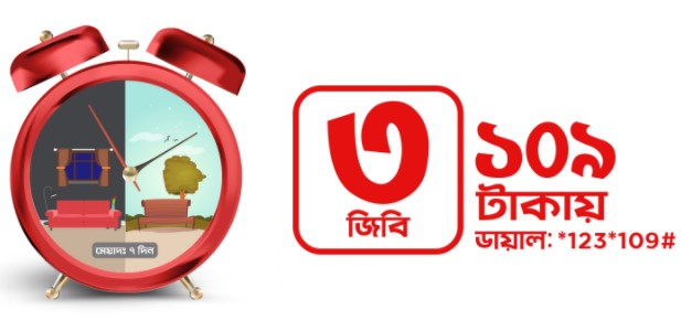 Robi 3GB Internet 109Tk Offer